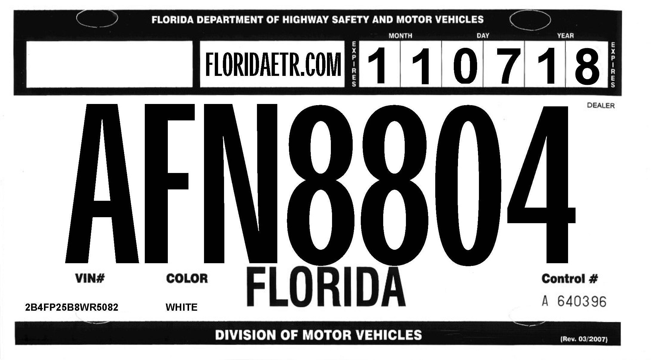 Florida Temporary Tag >> Florida Etr Temp Tags Summary